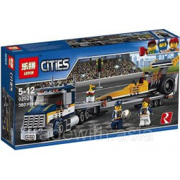 Конструктор LEPIN 02025 копия LEGO 60151 Dragster Transporter CiTiES